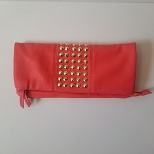 Pink gold studded ladies clutch